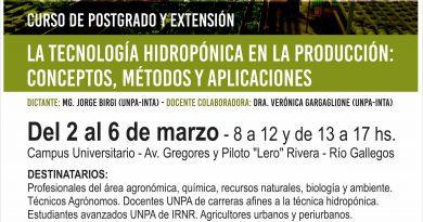Se dictará en Río Gallegos un curso de postgrado sobre tecnología hidropónica en la producción agrícola