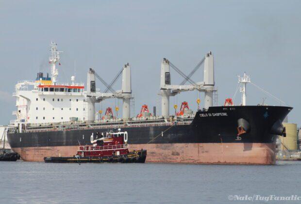Gran expectativa por la llegada del buque mercante Cielo di Gaspesie al puerto deseadense