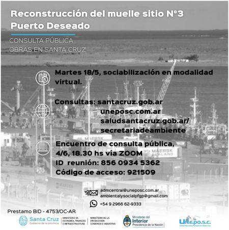 Darán a conocer el proyecto Reconstrucción del Muelle Sitio Nº3 del puerto de Puerto Deseado